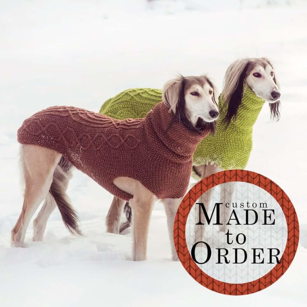 手編みの犬用シンプルハイネックセーター